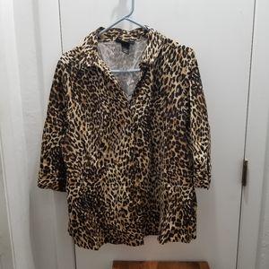 Lane Bryant Cheetah Print Animal Print top button